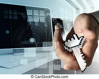 acesso, internet, mão, tecla, dá