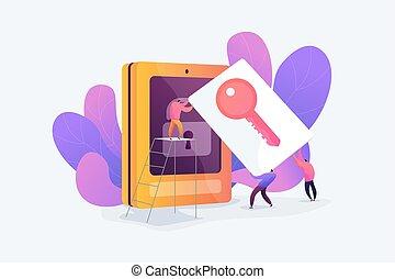 acesso, segurança, vetorial, illustration., cartão