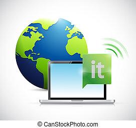 acesso, tecnologia informação, conceito, global