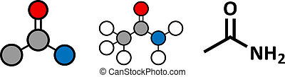 Acetamide (ethanamide) molecule. Used as plasticizer and industrial solvent. Carcinogenic (known to cause cancer).