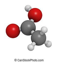 acetic, οξύ , (hoac), μόριο , χημικός , δομή