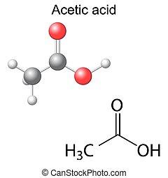 Acetic acid molecule - Structural chemical formula and model...