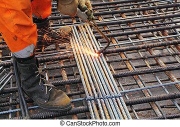 acetilene, saldare, metallo, torcia, lavoratore, grata, arancia, gambe, vestiti