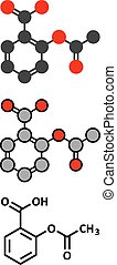 Acetylsalicylic acid (aspirin) pain relief drug molecule....