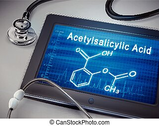 acetylsalicylic acid words display on tablet over table