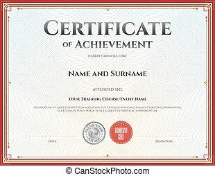 achèvement, certificat, remise de diplomes, vecteur, gabarit, accomplissement