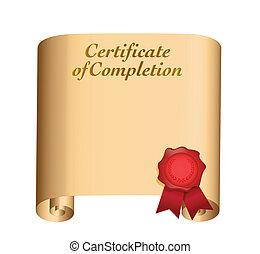 achèvement, conception, certificat, illustration