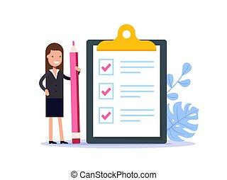 achèvement, crayon, géant, femme, illustration., business, plat, réussi, positif, paper., marqué, presse-papiers, vecteur, liste contrôle, tasks., tout