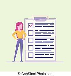 achèvement, plat, femme, illustration., business, réussi, liste contrôle, paper., marqué, presse-papiers, vecteur, tasks., tout