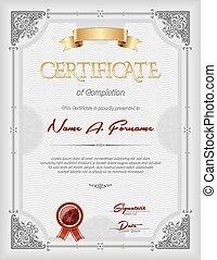 achèvement, portrait, certificat