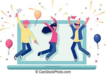 achèvement, projet, internet, célébrer, équipe