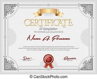achèvement, vendange, certificat