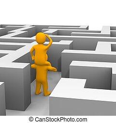 achando, caminho, através, labyrinth., 3d, representado,...
