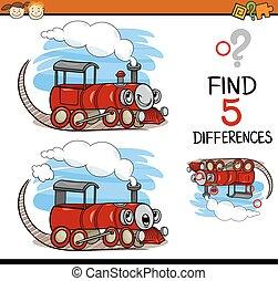 achando, diferenças, caricatura, tarefa