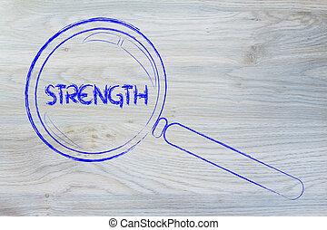 achando, força, lupa, desenho