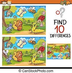 achando, jogo, diferenças, caricatura