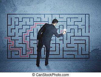 achando, labirinto, homem negócios, solução