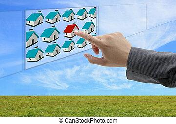 achando, online, propriedade