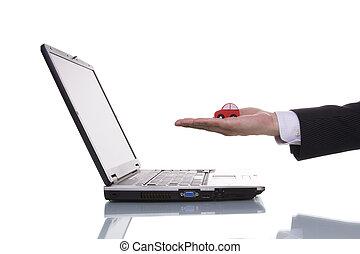 achando, um, car, ligado, internet