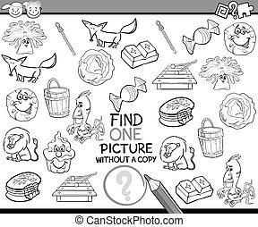 achar, único, quadro, jogo, caricatura
