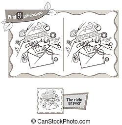 achar, 9, diferenças, feito à mão, cartão postal, jogo