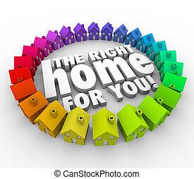 achar, a, direita, lar, por si, palavras, casas, bens imóveis