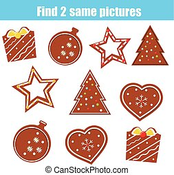 achar, a, mesmo, quadros, crianças, educacional, game., achar, dois, idêntico, biscoitos natal