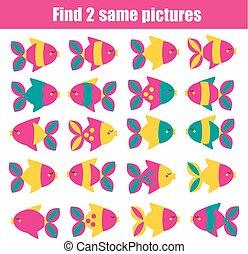 achar, a, mesmo, quadros, crianças, educacional, game., achar, dois, idêntico, fishes.