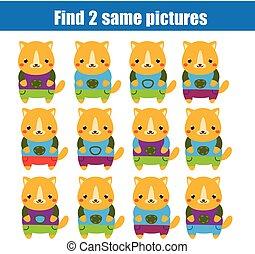 achar, a, mesmo, quadros, crianças, educacional, game., achar, dois, idêntico, gatos