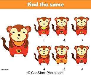 achar, a, mesmo, quadros, crianças, educacional, game., achar, dois, idêntico, macaco