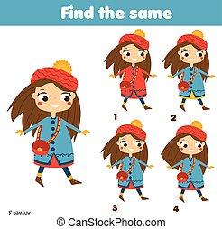 achar, a, mesmo, quadros, crianças, educacional, game., achar, dois, idêntico, meninas