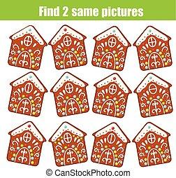 achar, a, mesmo, quadros, crianças, educacional, game., achar, dois, idêntico, natal, bolinhos gingerbread