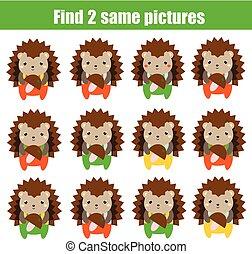 achar, a, mesmo, quadros, crianças, educacional, game., achar, dois, idêntico, ouriço