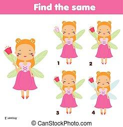 achar, a, mesmo, quadros, crianças, educacional, game., achar, dois, idêntico, princesa, fada