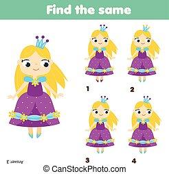 achar, a, mesmo, quadros, crianças, educacional, game., achar, dois, idêntico, princesa