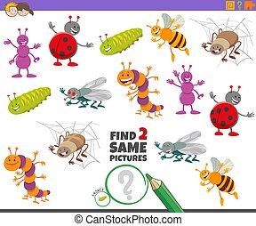 achar, caráteres, jogo, mesmo, dois, crianças, inseto