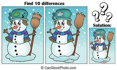 achar, diferenças, tema, com, boneco neve