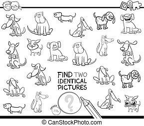 achar, dois, de, um, tipo, cão, caráteres, cor, livro