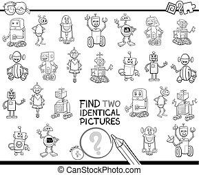 achar, dois, idêntico, robô, quadros, cor, livro