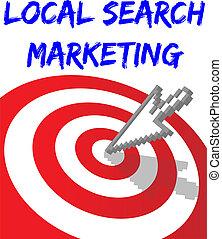 achar, local, busca, alvejado, marketing