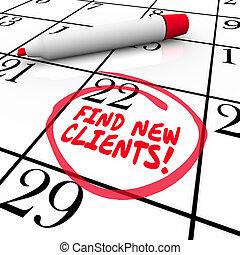 achar, novo, clientes, palavras, calendário, prospectar,...