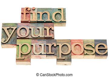 achar, seu, propósito, em, madeira, tipo