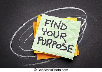 achar, seu, propósito, lembrete, conselho, ou