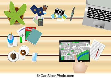 achar, um, lugar, ligado, um, mapa, ligado, um, tabuleta