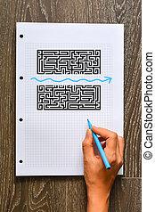 achar, um, melhor, solução, ou, atalho, conceito, com, labirinto, e, forma