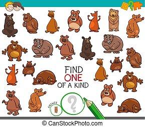 achar, um um tipo, com, urso, animal, caráteres
