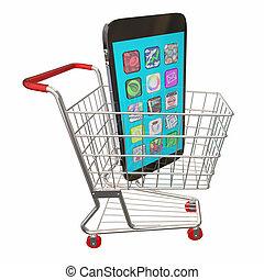 achat, achats, vente, charrette, téléphone portable, illustration, nouveau, 3d
