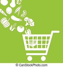 achat aliment, charrette
