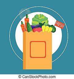 achat aliment, légumes frais, sac