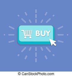 achat, bouton, moderne, symbole., illustration, vecteur, conception, déclic souris